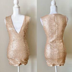 TOBI V neck sequin mini dress